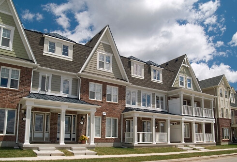 Townhouses with quality asphalt shingles